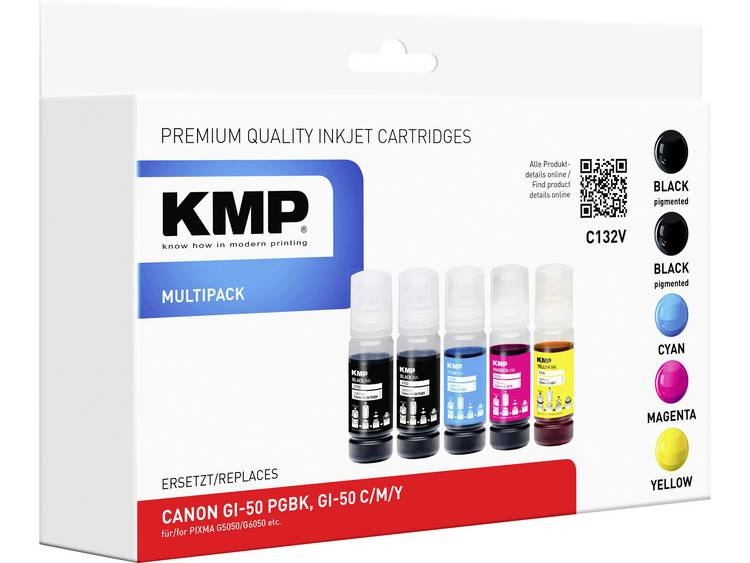 KMP Navulinkt vervangt Canon GI 50 PGBK GI 50 C GI 50 M GI 50 Y 3386C001 34