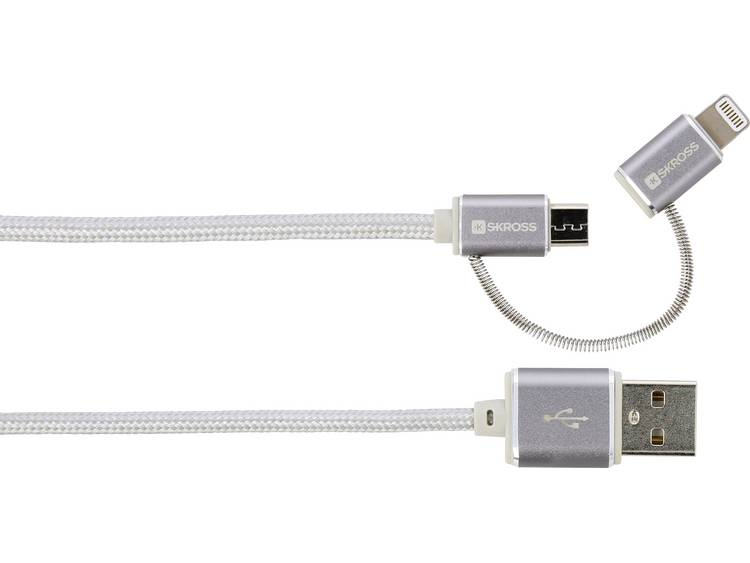 2in1 Charge'n Sync Micro USB & Lightning Connector Steel Line For al