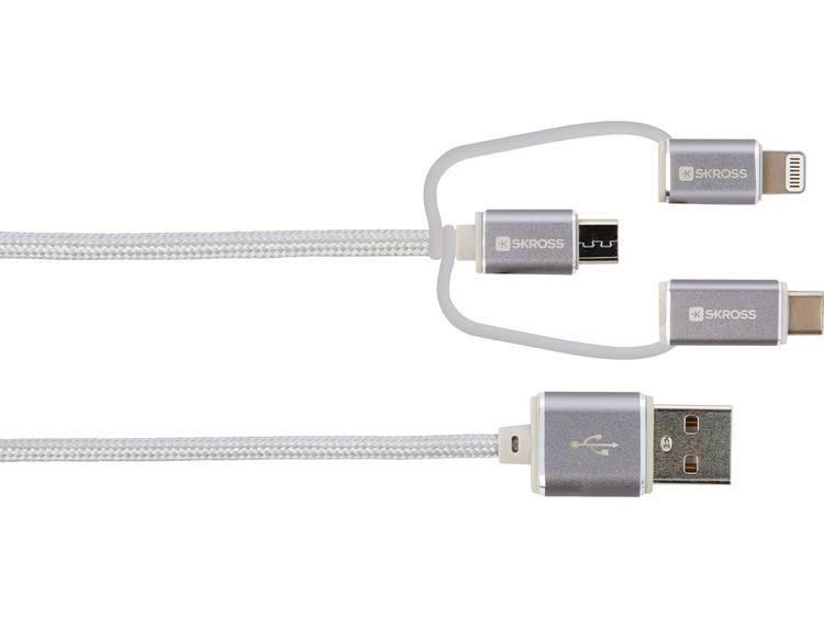 Skross iPod-iPhone-iPad USB-kabel [1x USB 1x USB-C stekker, Micro-USB-stekker, Apple dock-stekker Li