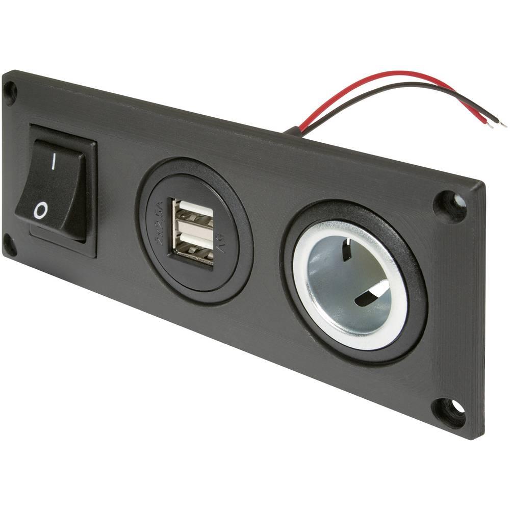 ProCar 67326010 Inbouwstopcontact met USB-A dubbel stopcontact schakelbaar + 1 power-contactdoos Str