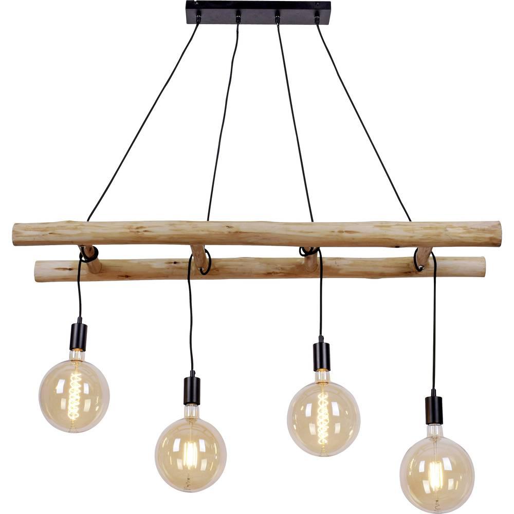 LeuchtenDirekt Edgar 15025-18 Pendellamp LED E27 120 W Hout, Zwart