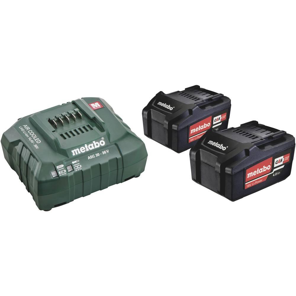 Metabo 2 stuks accu-packs 18 volt 4.0 ah + lader asc 30-36 v