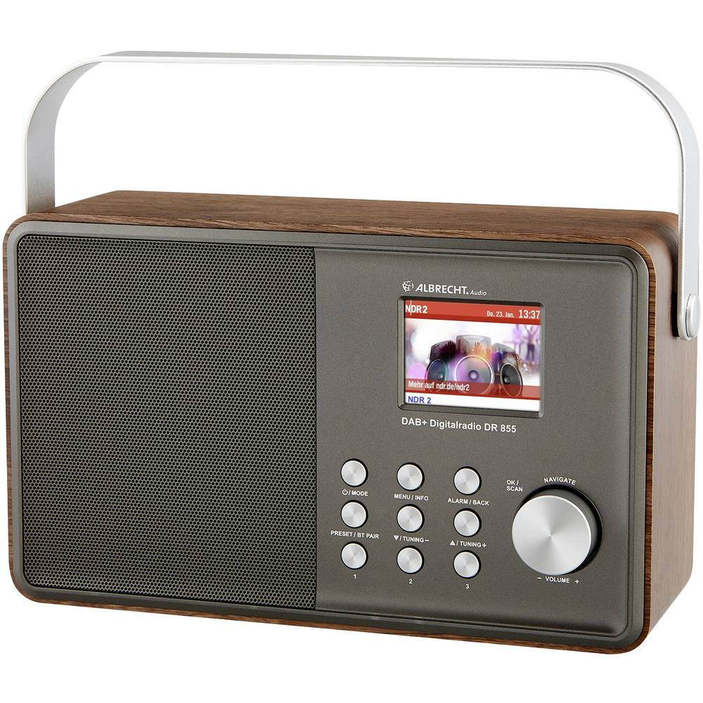 Albrecht DR 855 DAB+/UKW/Bluetooth Tafelradio DAB+, FM DAB+, FM Zilver, Hout