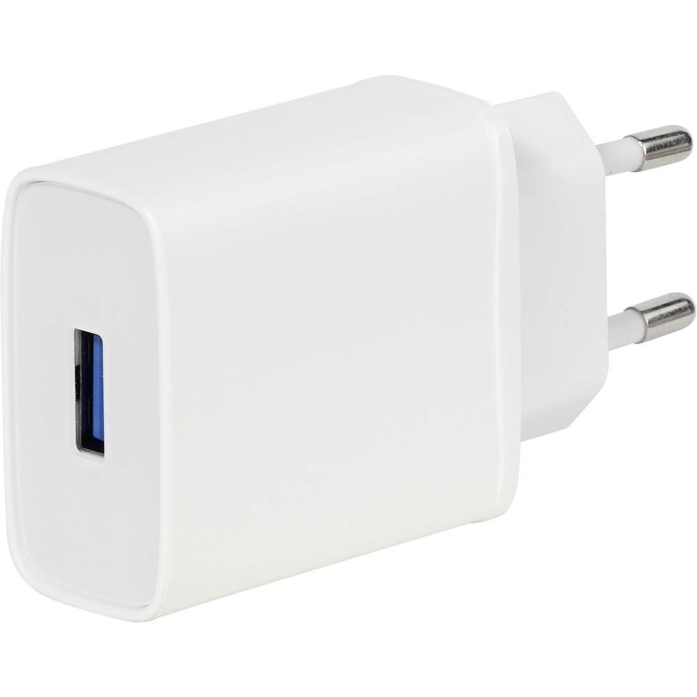 Vivanco TCVVMUSBQC3018W Laddare för mobiltelefon med snabbladdning Micro USB, USB-A Vit