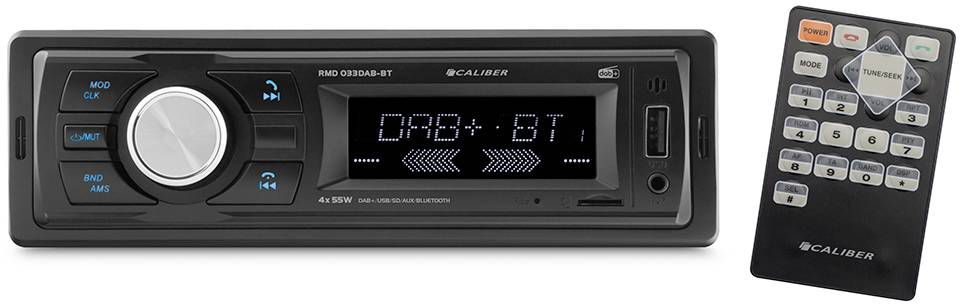 Conrad-Caliber Audio Technology RMD033DAB-BT Autoradio enkel DIN DAB+ tuner, Bluetooth handsfree, Incl. afstandsbediening, Incl. DAB-antenne-aanbieding