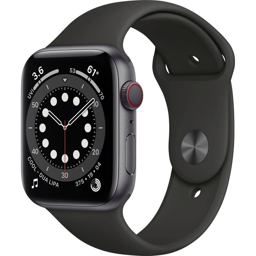 Apple Watch Series 6 GPS + Cellular 44 mm Aluminium kast Space grijs Sportband Black