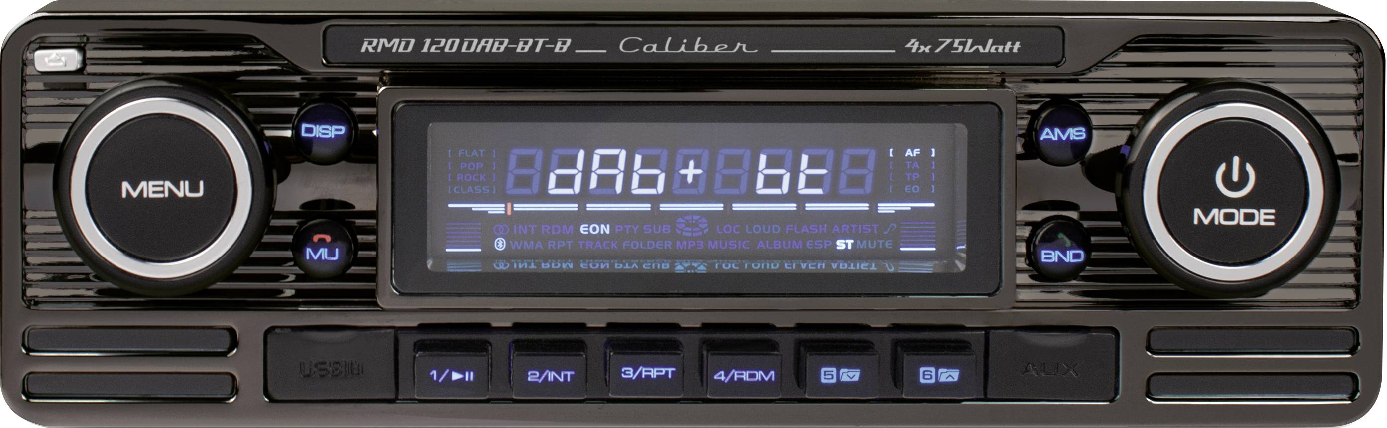 Conrad-Caliber Audio Technology RMD120DAB-BT-B Autoradio enkel DIN Bluetooth handsfree, Incl. DAB-antenne, Retrodesign-aanbieding