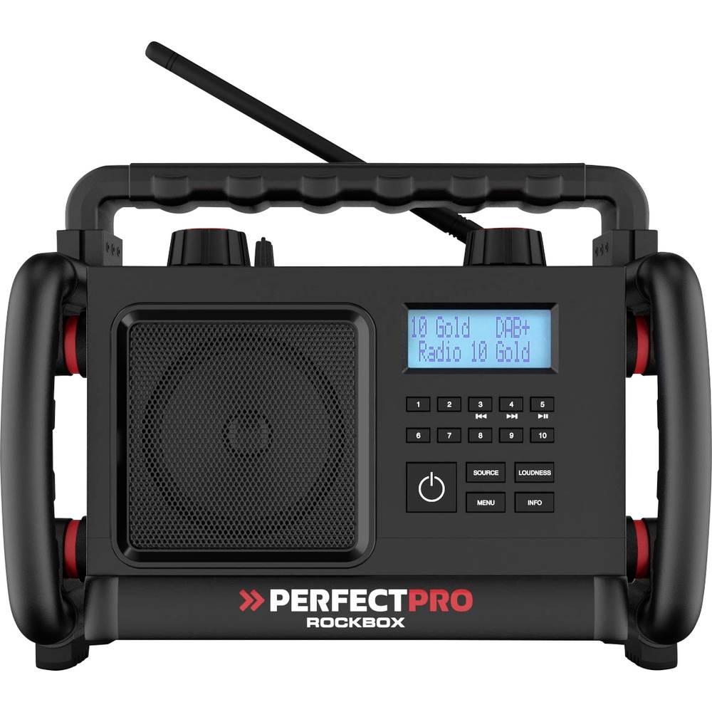 PerfectPro ROCKBOX Bouwradio DAB+, FM AUX, Bluetooth, FM Stofvast Zwart