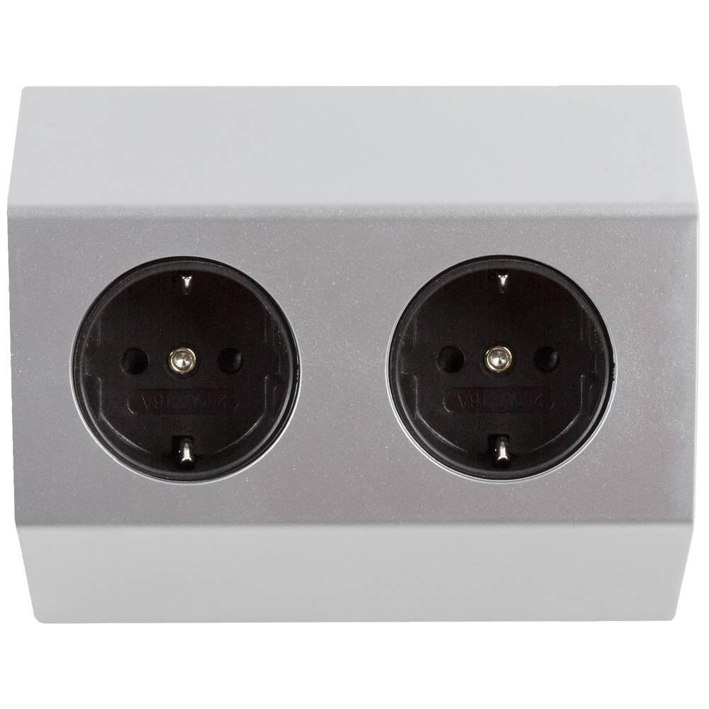 Heitronic 500069 Stekkerdoos zonder schakelaar Wit, Zilver 1 stuk(s)