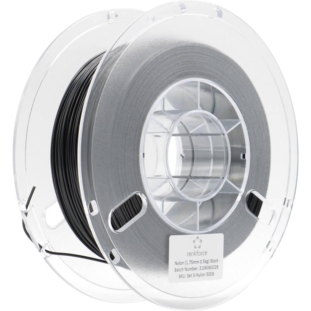 Renkforce RF-4738608 3D-skrivare Filament PLA-plast 1.75 mm 500 g Svart (matt) 1 st