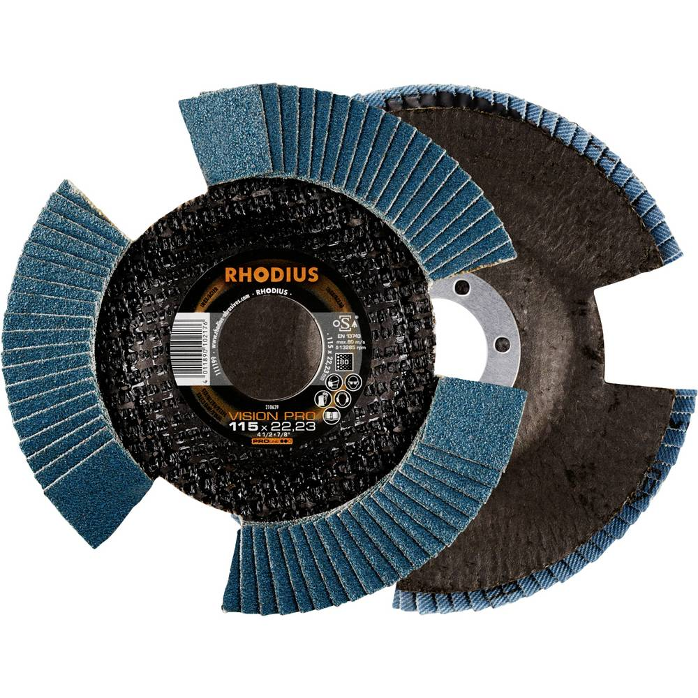 Rhodius 211308 Rhodius VSION PRO lamellslipskiva 115 x 22,23mm K80 INOX sned Diameter 115 mm 5 st
