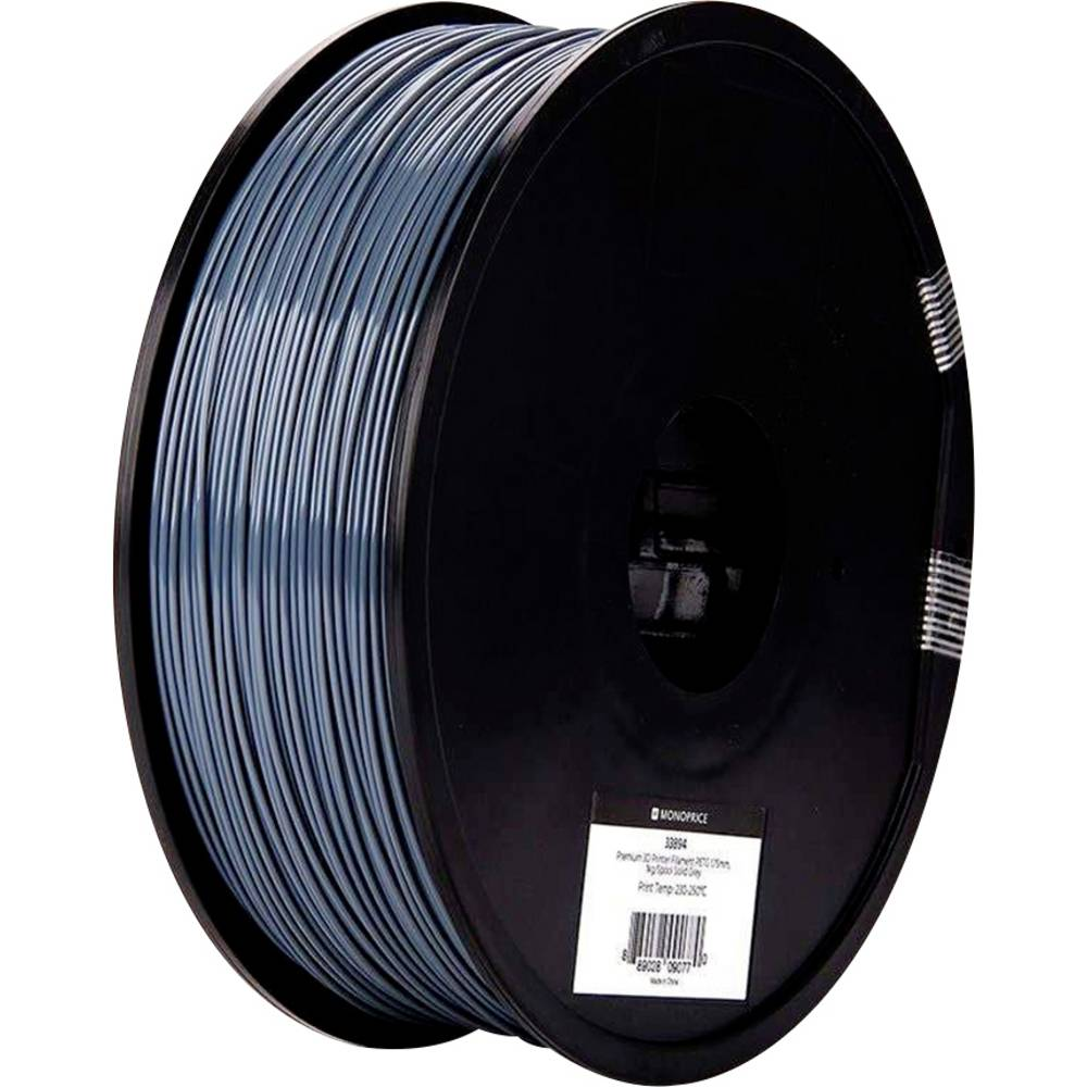 Monoprice 133894 Premium 3D-skrivare Filament PETG 1.75 mm 1000 g Grå 1 st