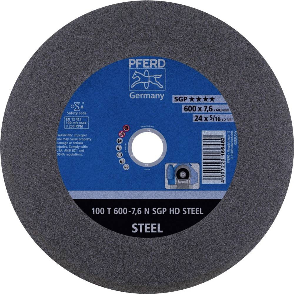 PFERD 100 T 600-7,6 N SGP HD STEEL/60,0 66397706 Doorslijpschijf recht 600 mm 60 mm 5 stuk(s)