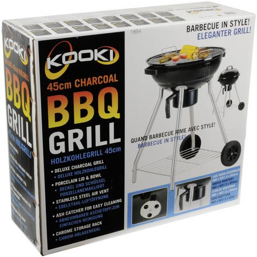 Barbecue Kooki Kooki Houtskool Grilloppervlak (diameter): 450 mm Zwart