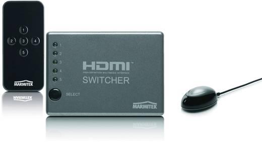 HDMI-switch 5 poorten met afstandsbediening, 3D-weergave mogelijk 1920 x 1080 pix Marmitek Connect 350