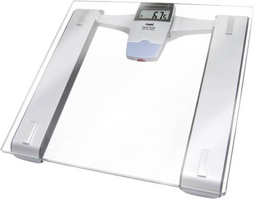 Fysic FW-180 Digitale personenweegschaal Draadloos display 150 kg Transparant, Zilver