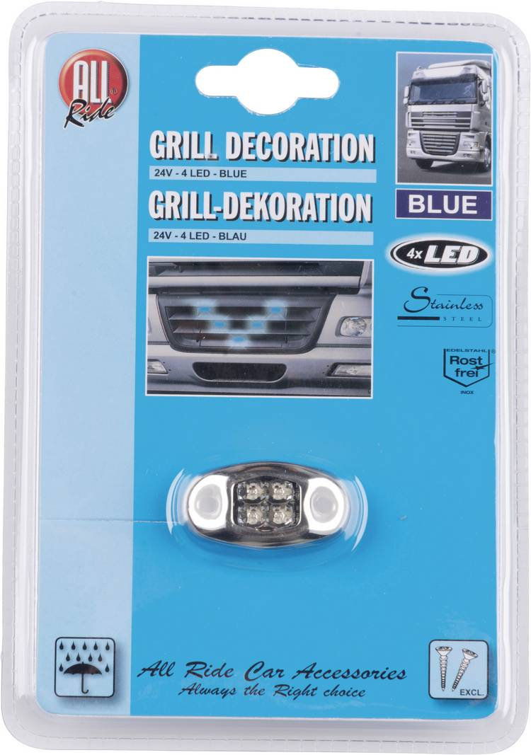 AllRide Grillverlichting 24 V. 4 blauwe LEDs