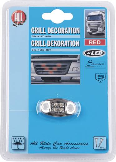 AllRide Grillverlichting 24 V, 4 rode LED's