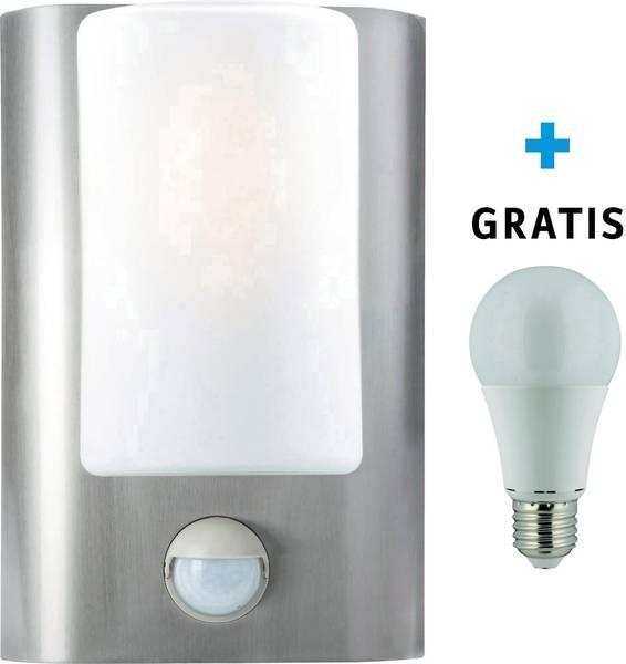 Buiten LED-wandlamp met bewegingsmelder met gratis LED-lamp RVS ...