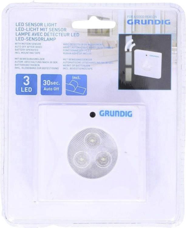 LED LED-nachtlamp met bewegingsmelder Rechthoekig Wit Grundig