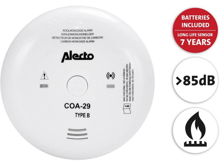 Koolmonoxidemelder incl. batterij (7 jaar) Alecto COA-29-7 werkt op batterijen Detectie van Koolmono