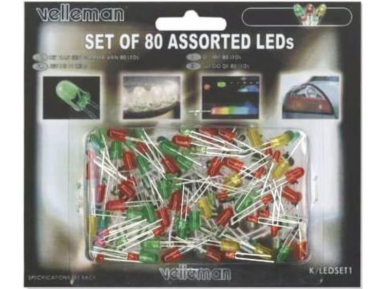LED-assortiment Velleman K-LED1 Rood, Groen, Geel 3 mm, 5 m