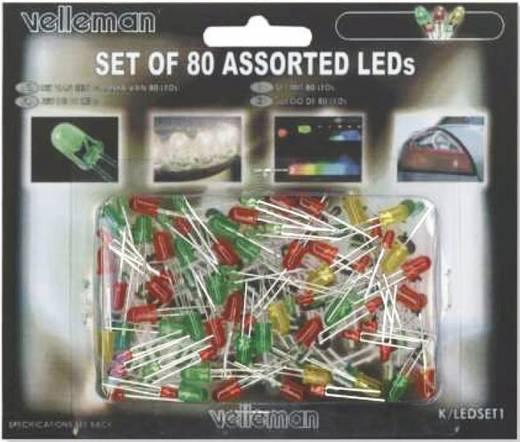 Velleman K/LED1 LED-assortiment Rood, Groen, Geel 3 mm, 5 mm 1 set