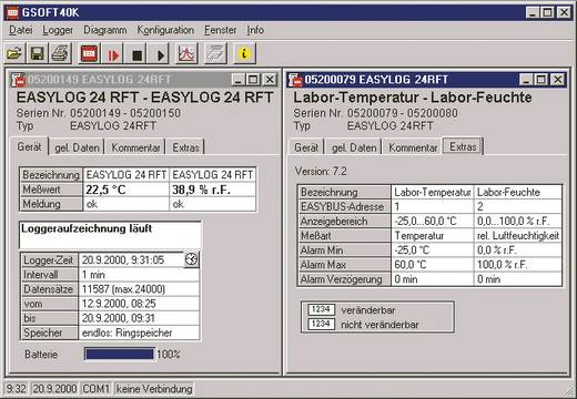 Greisinger GSOFT 40K software Geschikt voor (details) Greisinger, EASYLog- en MINILog-datalogger