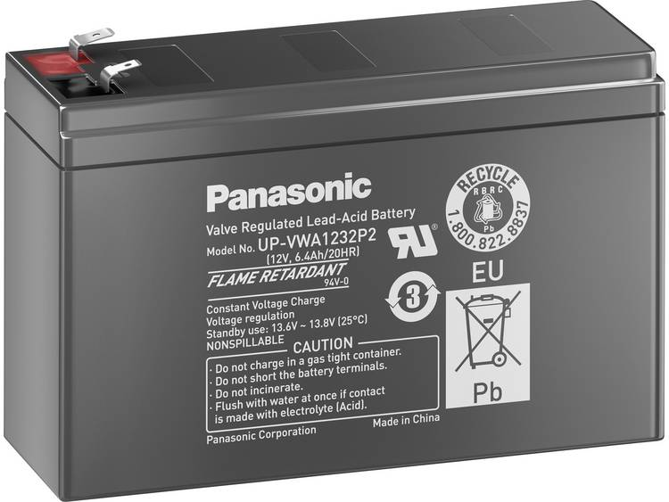 Panasonic Lood 12V 2,6Ah Loodaccu 12 V 2.6 Ah Loodvlies (AGM) Kabelschoen 6.35 mm, Kabelschoen 4.8 m
