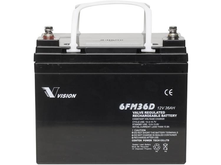 Vision Akkus FM-Serie 6FM36DX Solar-accu 12 V 36 Ah Loodvlies (AGM) (b x h x d) 195 x 155 x 130 mm M6-schroefaansluiting