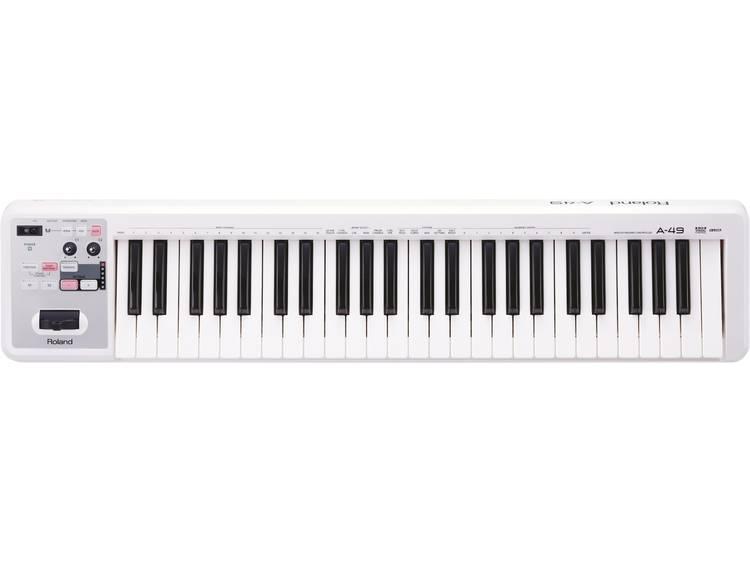 Roland A-49-WH MIDI keyboard Wit Aantal toetsen: 49