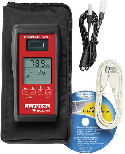 Benning Sun 2 instralings- en temperatuurmeter voor fotovoltaïsche systemen, meetinstrument voor zonne-energie, fotovoltaïsch meetinstrument, W/m², BTU/h/ft²,°C
