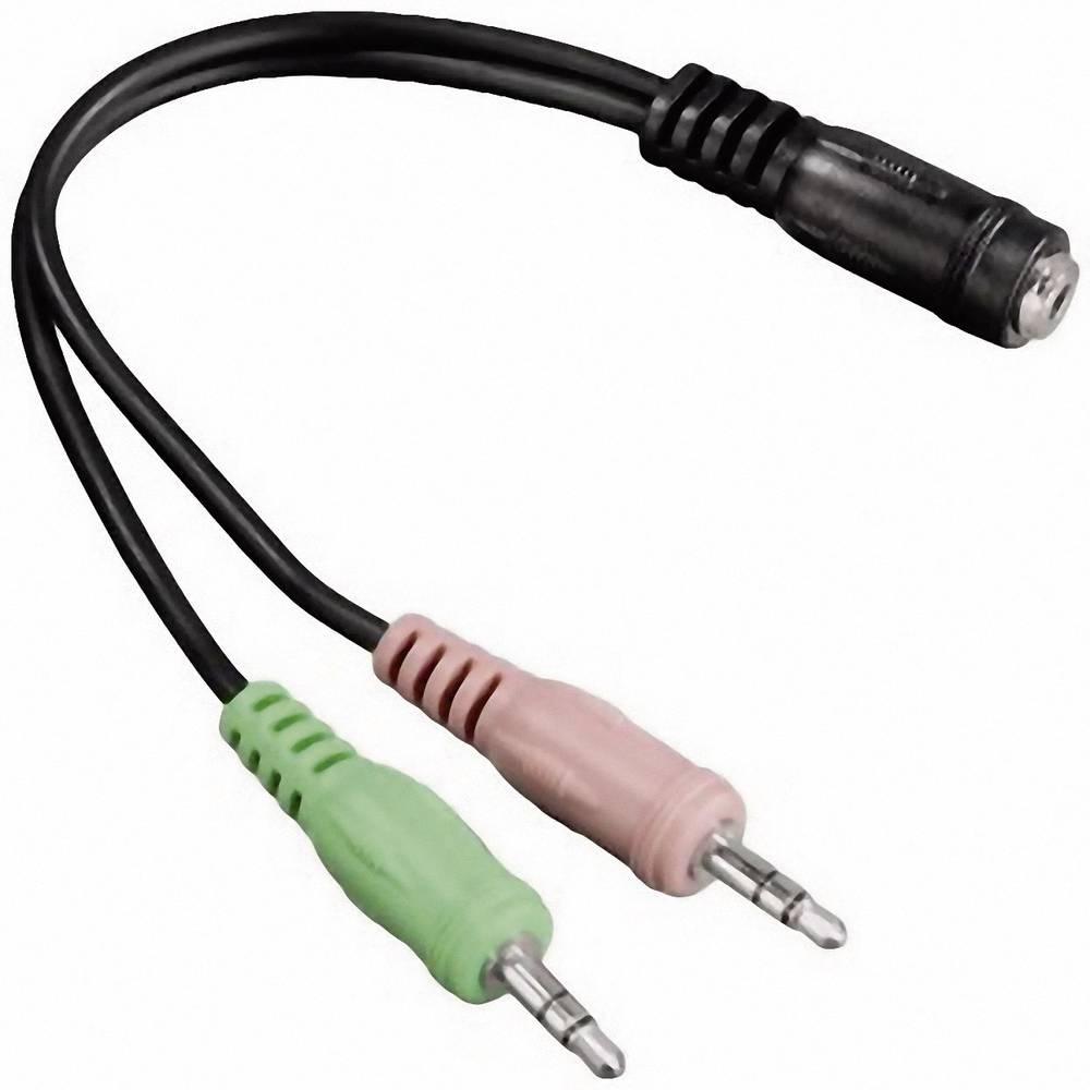 Jackplug Audio Aansluitkabel [2x Jackplug male 3.5 mm 1x Jackplug female 3.5 mm] 0.10 m Zwart Hama