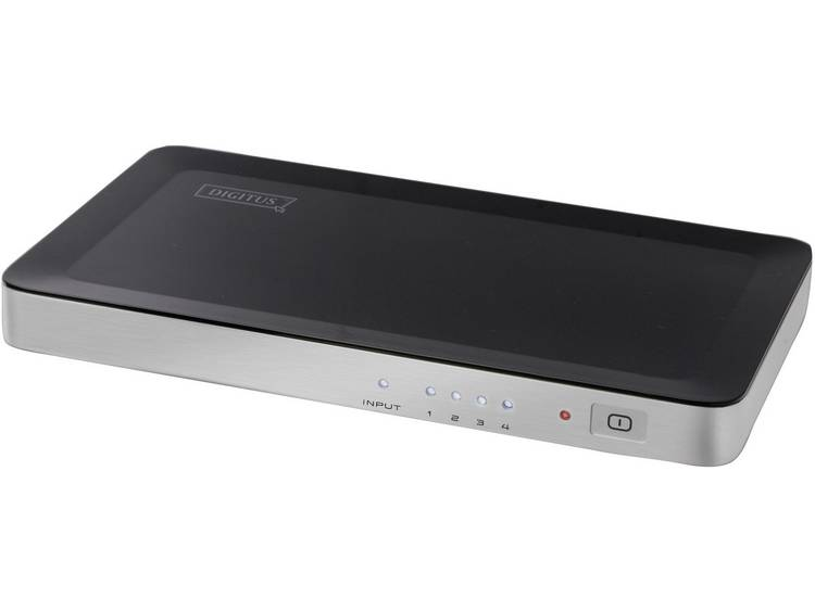 HDMI-splitter 4 poorten Digitus DS-42300 3D-weergave mogelijk 1920 x 1080 pix Zwart, Zilver