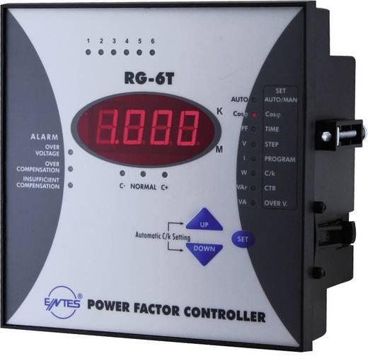 RG-6T 1-fasevermogensfactorregelaar voor 6 condensatortrappen inbouwinstrument