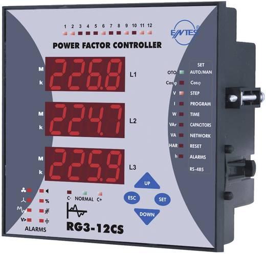 RG3-12CS 3-fasenvermogensfactorregelaar voor 12 condensatortrappen inbouwinstrument