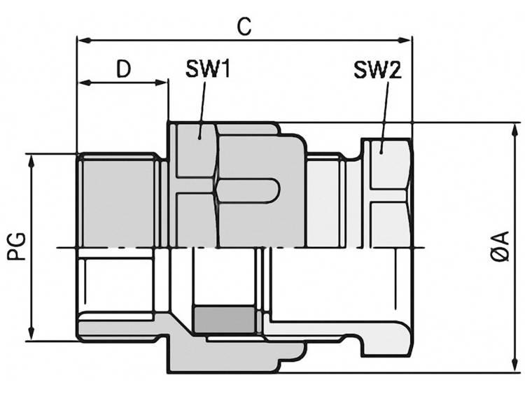 Wartel PG16 Polystereen (EPS) Lichtgrijs (RAL 7035) LappKabel SKINDICHT® SVFK PG 16 25 stuks