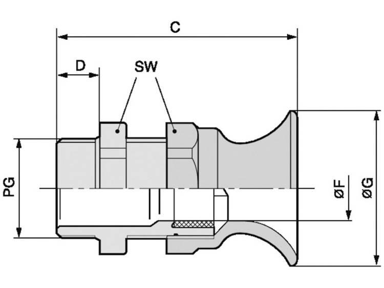 Wartel met beschermtrompet PG11 Polyamide Zilver-grijs (RAL 7001) LappKabel SKINTOP® BT PG 11 100 stuks