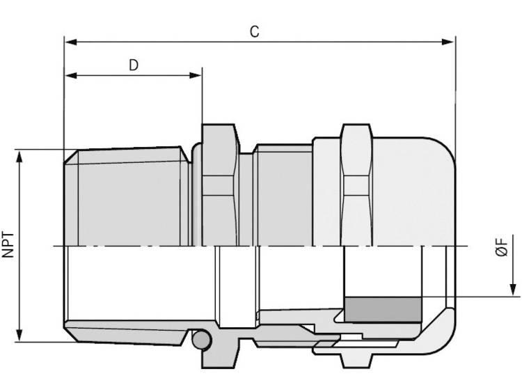 Wartel 1 Messing Messing LappKabel SKINTOP® MS-NPT BRUSH 1 25 stuks
