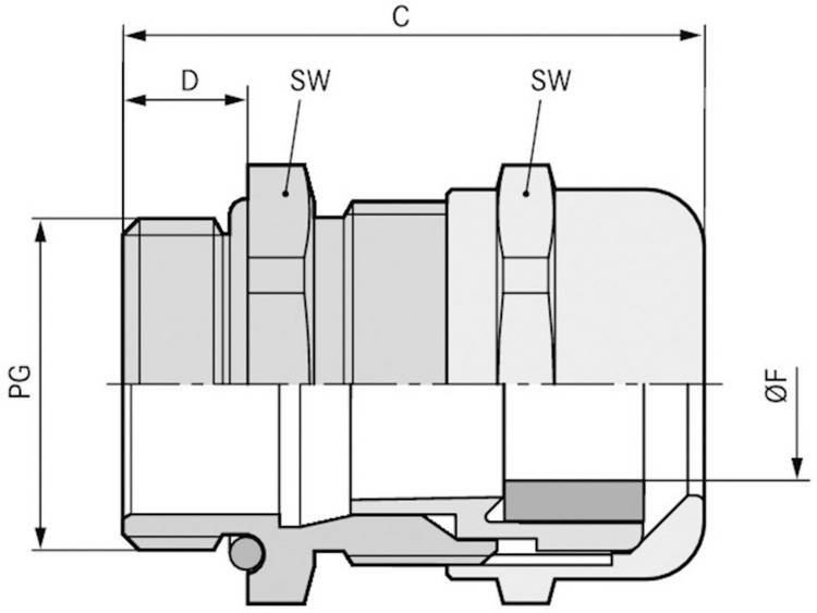 Wartel PG29 Messing Messing LappKabel SKINTOP® MSR-XL PG 29 25 stuks