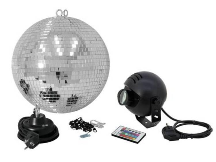 Spiegelbollenset 30 cm met LED-RGB-spot en draadloze afstandsbediening Discobal