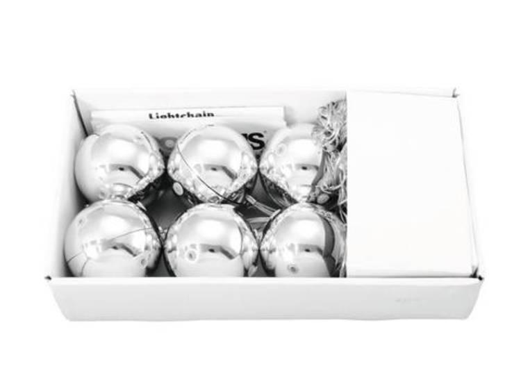 Europalms LED zilveren kerstballenset (6x)