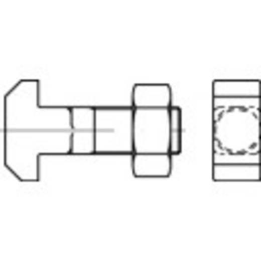 TOOLCRAFT Hamerkopbouten M20 100 mm Vierkant DIN 186 Staal 10 stuks