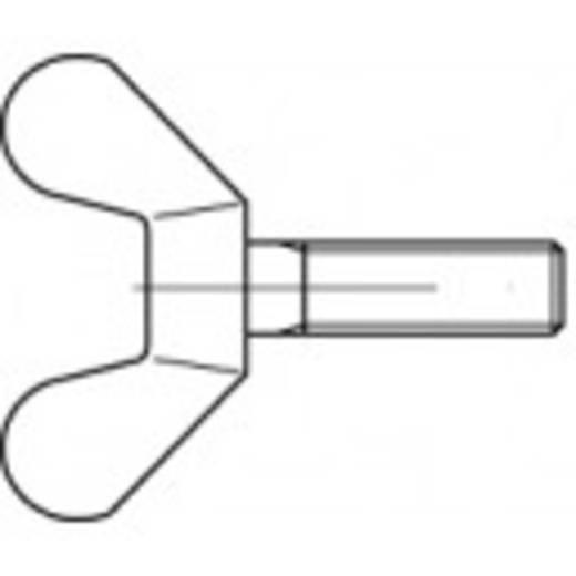 TOOLCRAFT Vleugelschroeven M6 10 mm DIN 316 Kneedbaar galvanisch verzinkt 100 stuks
