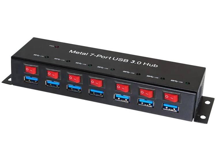 7 poorten USB 3.0 hub metalen behuizing, individueel schakelbaar, voor wandmontage R