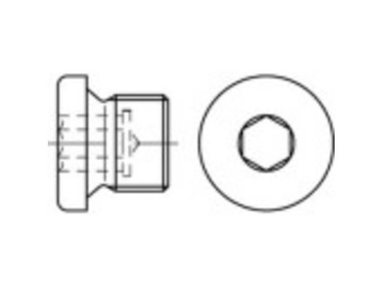 Sluitschroeven M18 Binnenzeskant (inbus) DIN 908 Staal Galvanisch verzinkt 100 stuks TOOLCRAFT 112730
