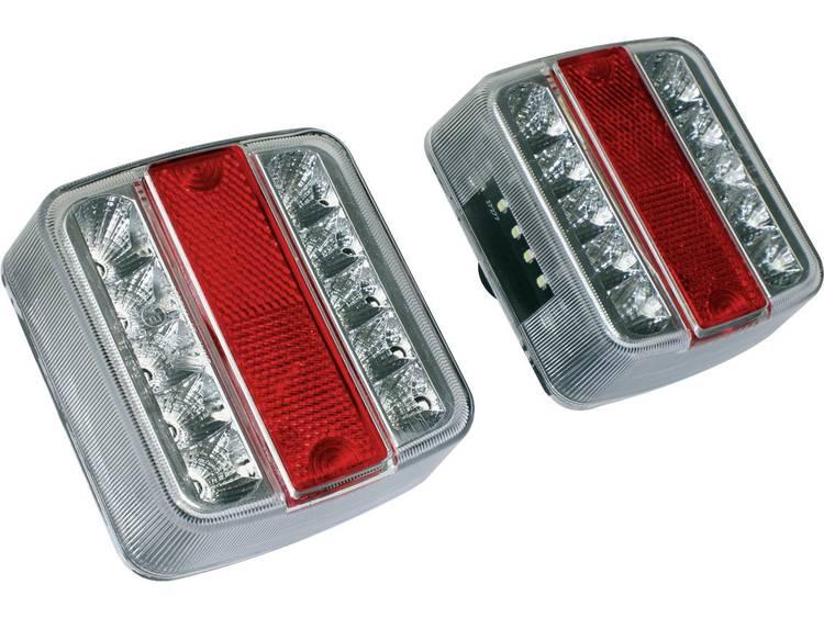 LED Aanhangerachterlicht Knipperlicht, Remlicht, Achterlicht, Kentekenverlichting links, rechts 12 V Rood, Zilver LAS
