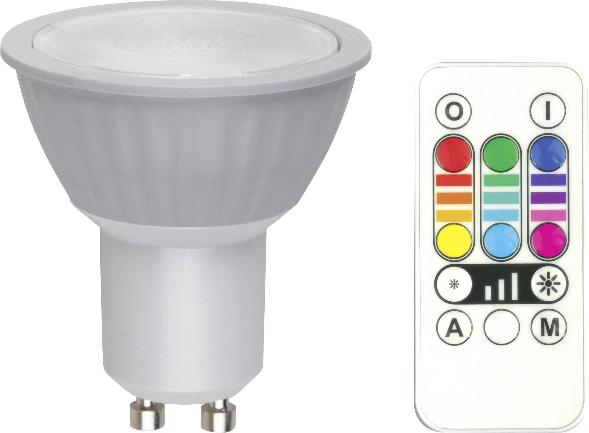 1168138 led lamp gu10 reflector 32 w 25 w rgb dimbaar colorchanging incl afstandsbediening energielabel b a