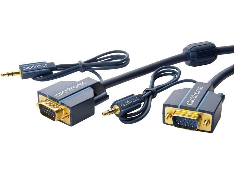 VGA / Jackplug Kabel clicktronic VGA und Audio-Verbindungskabel [1x VGA-stekker, Jackplug male 3.5 mm - 1x VGA-stekker, Jackplug female 3.5 mm] 2 m Blauw