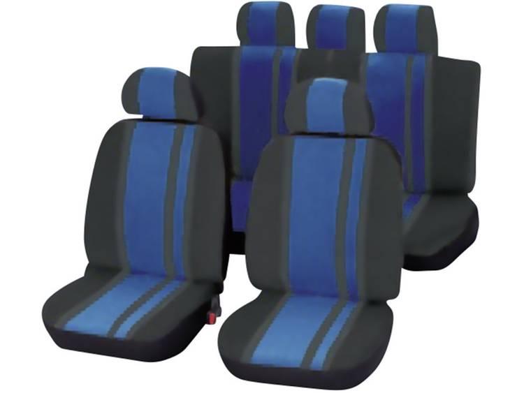 Unitec 84959 Newline Autostoelhoes 14 delig Polyester Blauw, Zwart Bestuurder, Passagier, Achterbank